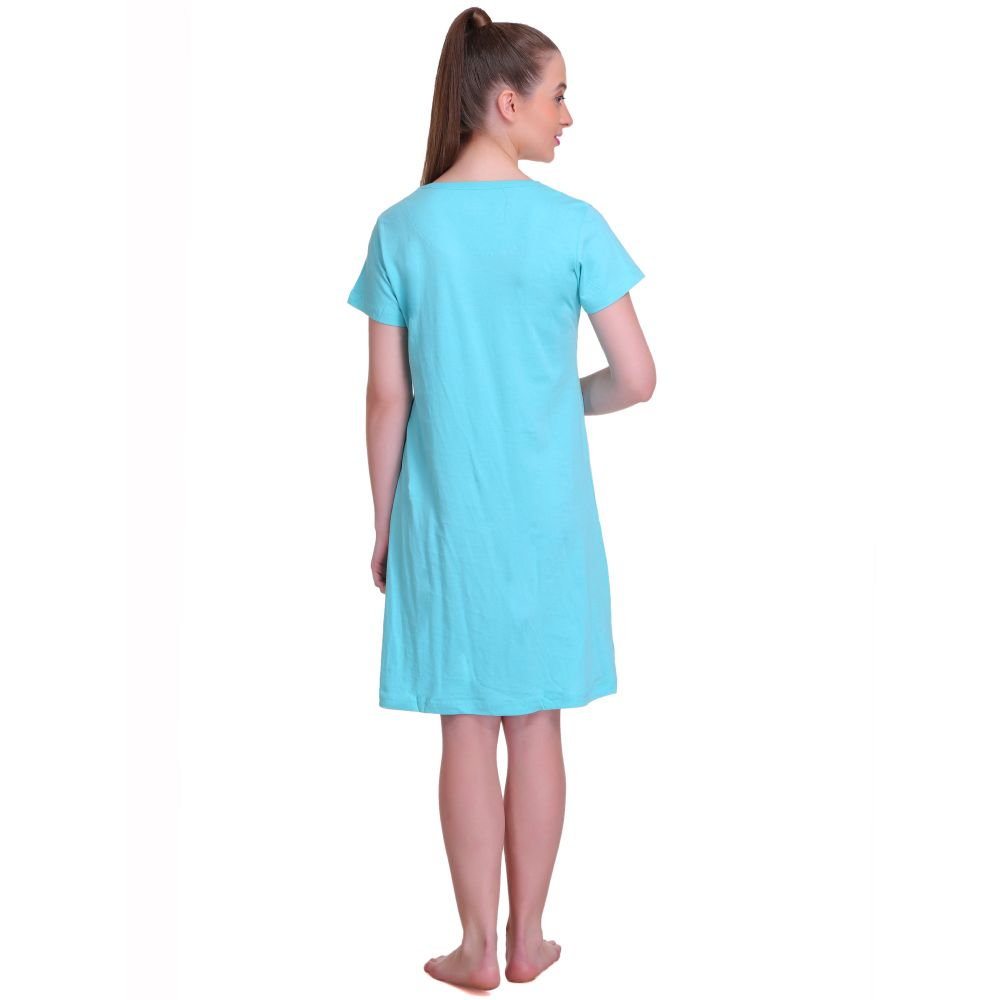 T.T. Women Half Sleeves 3/4th Gown - Light Blue