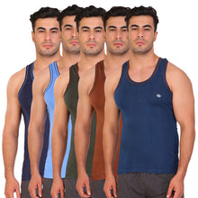 T.T. Men Caption Solid Pack Of 5 Dyed Vest Assorted