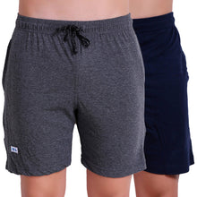 T.T. Men Solid Cotton Shorts Pack Of 2 Anthra::Navy