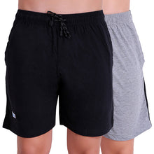 T.T. Men Solid Cotton Shorts Pack Of 2 Navy::Grey