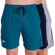 T.T. Men Solid Cotton Shorts Pack Of 3 Grey::Air::Navy