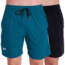 T.T. Men Solid Cotton Shorts Pack Of 2 Black::Air