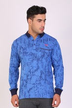 HiFlyers Men Slim Fit Printed Premium Collar Full Sleeve Tshirt Blue