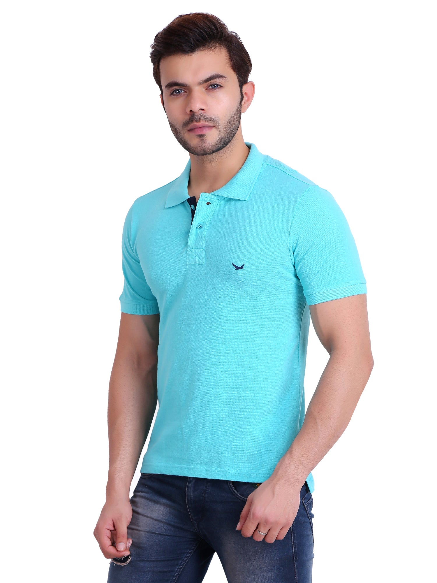 Hiflyers Men Light Green Polo T-Shirt
