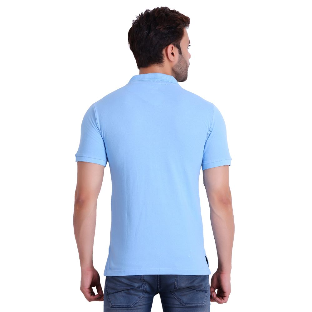 Hiflyers Men Sky Blue Polo T-Shirt