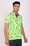 HiFlyers men Slim fit PRINTED collar tshirts GREEN