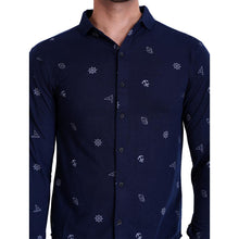 HiFlyers Men Polo Neck Printed Shirt Dark Blue