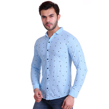 HiFlyers Men Polo Neck Printed Shirt Light Blue