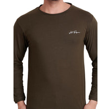 HiFlyers Men Round Neck Solid T-ShirtBrown