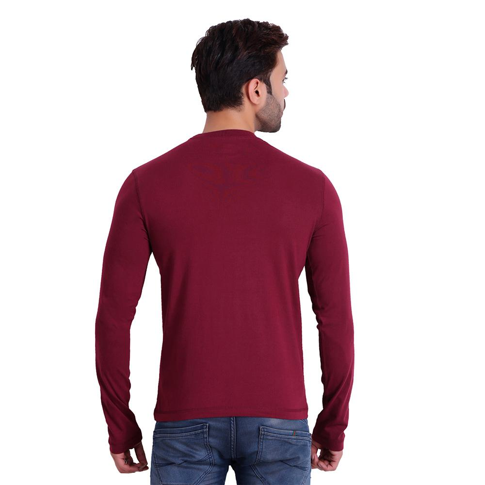 HIFLYERS MEN ROUND NECK FULL SLEEVE SOLID Maroon T-SHIRT