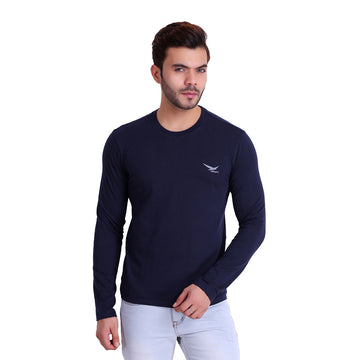 HiFlyers Men Round Neck Full Sleeve Solid Dark Blue Tshirt