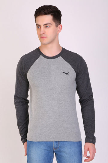 HiFlyers Men Round Neck Full Sleeve Cut & Sew Grey-Anthra T-Shirt