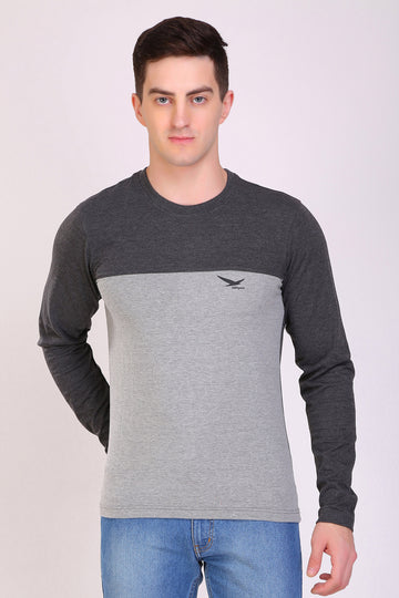 HiFlyers Men Round Neck Full Sleeve Cut & Sew Anthra-Grey T-Shirt