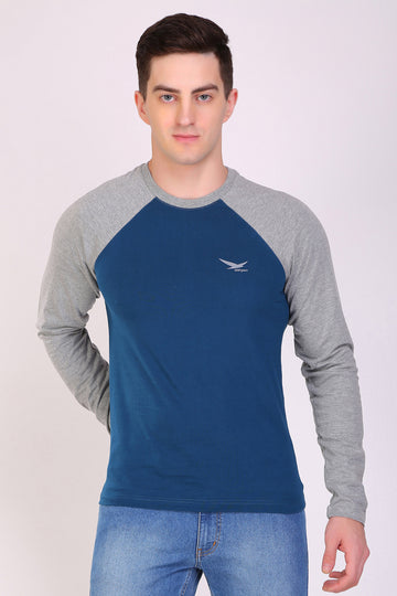HiFlyers Men Round Neck Full Sleeve Cut & Sew Air Force T-Shirt