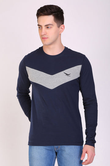HiFlyers Men Round Neck Full Sleeve Cut & Sew Navy T-Shirt