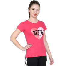 T.T. Women Slim Fit Printed Round Neck Printed T-Shirt Fuschia