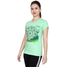 T.T. Women Printed Slim Fit Tshirt Pack Of 2 Green::Pink