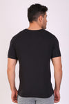 T.T. Men Regular Fit Printed Rn Tshirt Black