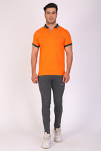 T.T. Men Slim Fit Printed Tshirts Orange