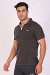 HiFlyers Men Slim Fit Collar Tshirts Anthra