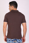 HiFlyers Men Slim Fit Collar Tshirts Brown