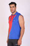 HiFlyers Men Color Blocks Hooded Sports Tshirt Red Blue