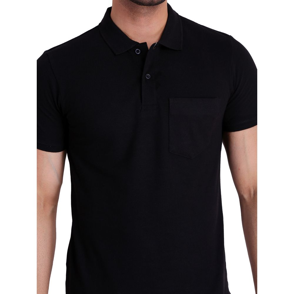 Hiflyers Polo Neck Tshirts Black with Pocket