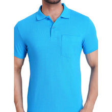 Hiflyers Polo Neck Mens Tshirt Sky Blue with Pocket