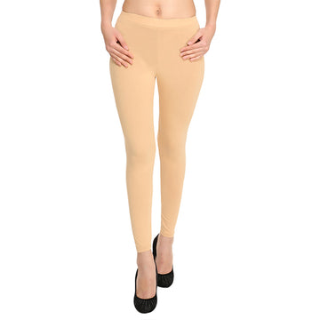 Hiflyers Women Beige Ankle Length Leggings/Yoga Pant