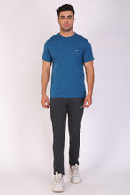 HiFlyers Men Slim Fit Solid Premium Rn Tshirts Deep Atlantic