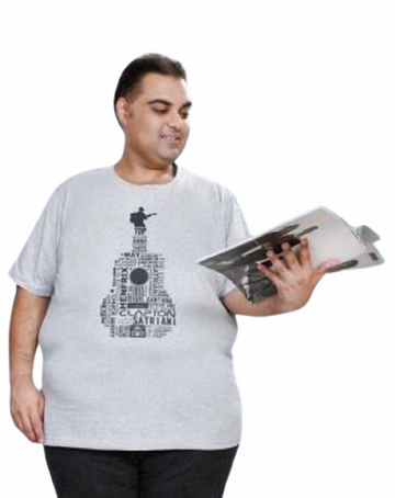 T.T. MENS PLUS SIZE PRINTED GREY T-SHIRTS