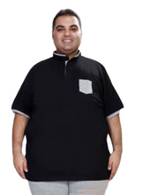 T.T.  MENS PLUS SIZE VAN COLLAR BLACK TSHIRTS