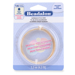 14g Beadalon Gold Color German Style Round Wire - 4.3 ft.