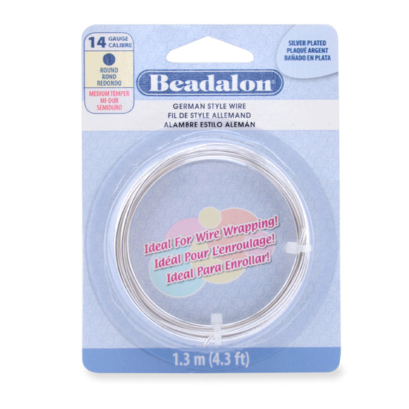 14g Beadalon Silver Plated German Style Round Wire - 4.3 ft.