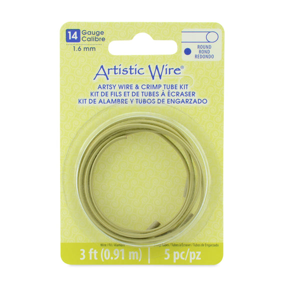14g Artistic Wire Artsy Olive w/Lg. Wire Crimp Connectors - 3 ft.