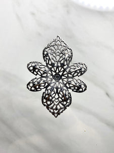 """Enchanted II"" Antique Silver Dapped Filigree (41mm x 57mm)"
