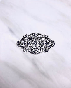"""Charmed II"" Antique Silver Filigree Connector (33mm x 19mm)"