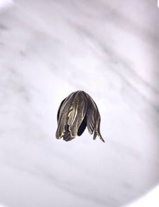 """Large Leaf Bead Cap"" Antique Brass (11mm x 21mm)"