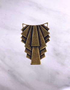 """Ruffled"" Antique Brass Pendant (22mm x 31mm)"