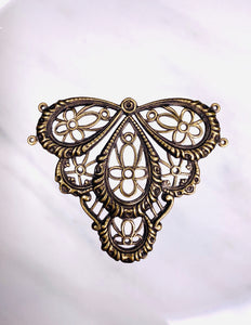 """Victorian Splendor"" Antique Brass Filigree (41mm x 49mm)"