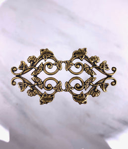 """Double Vine Heart""  Antique Brass Filigree (30mm x 57mm)"