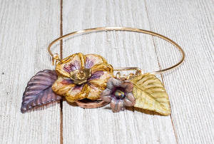 ADJUSTABLE BANGLE PANSY BRACELET