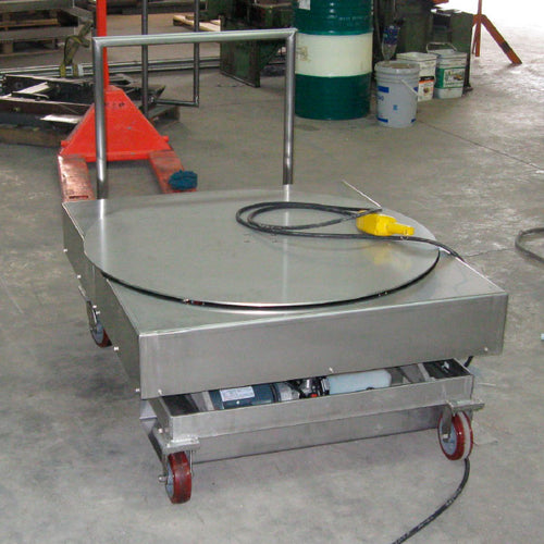 Portable Lift Table with Powered Rotator - Superlift Material Handling