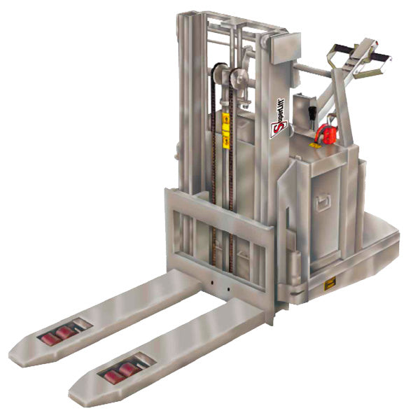 Stainless Steel Walkie Fork Over Stacker - Superlift Material Handling