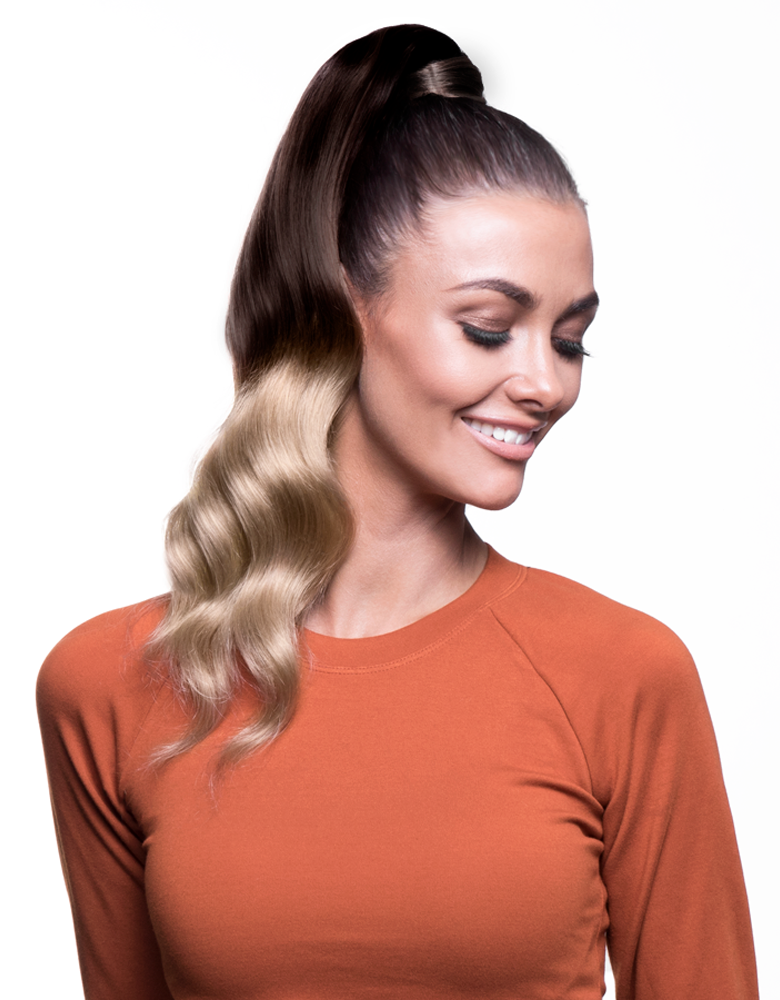 "BELLAMI It's A Wrap Ponytail 16"" 80g Balayage Dark Brown / Dirty Blonde (#2/18) Human Hair"