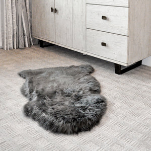 SHEAR STYLE Classic Long Wool Sheepskin Rug, Single Pelt, Premium Grade, 2x3 Accent Throw Rug