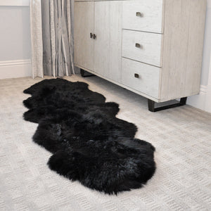 SHEAR STYLE Classic Long Wool Sheepskin Rug, Double 2-Pelt End-to-End, Premium Grade, 2x6 Area Rug