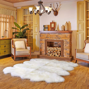 SHEAR STYLE Classic Long Wool Sheepskin Rug, Octo 8-Pelt, Premium Grade, 6x8 Large Area Rug