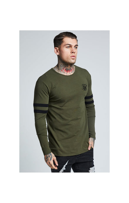 SikSilk L/S Tournament Tee – Black & Khaki