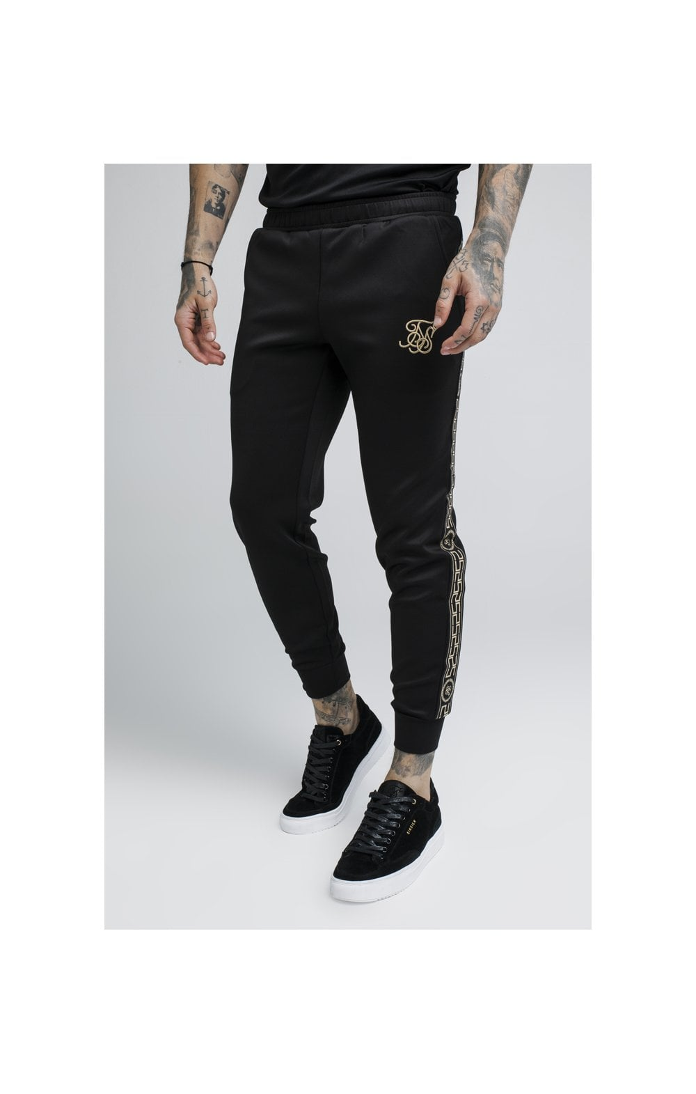 SikSilk Cartel Cropped Cuffed Track Pants - Black